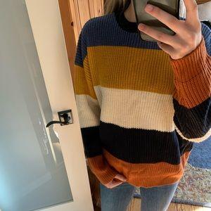 Fun stripped back tie/open sweater